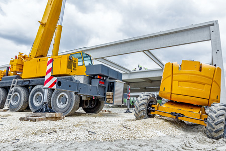 Part of the undercarriage wheels on mobile crane, tracked  Stock Photo