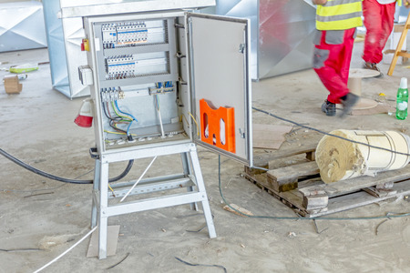 provisional: Electrical cabinet with connectors is providing electrical energy to construction site. Stock Photo