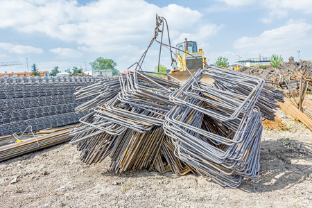 distributed: Steel bars stacked for construction, classified by the bending shape at construction site.
