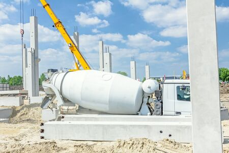 manage transportation: Mixer truck is transport cement to the casting place on building site.