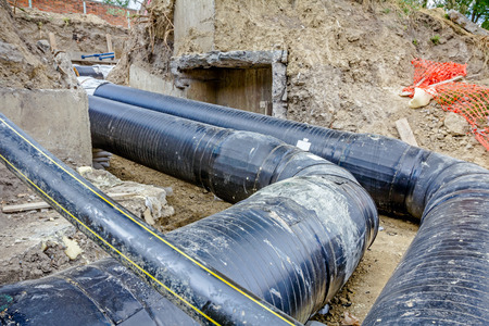 assembled: View on assembled and isolated pipeline in trench