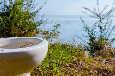 Ceramic old toilet bowl is in the orchard, field high above open sea.