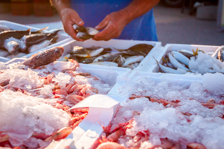 Pile of fresh red shrimps for sale on the seafood market, seafood on ice.