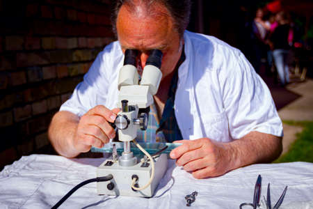 A veterinarian is examining sample of meat, pork lung tissue, on trichinosis, looking on glass tiles under an electric microscope at outdoor laboratory. 版權商用圖片