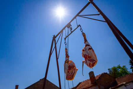 Shot from below on two raw, fresh pork hams hooked on hooks, hanging on metal carrier. View on sun rays and blue sky.