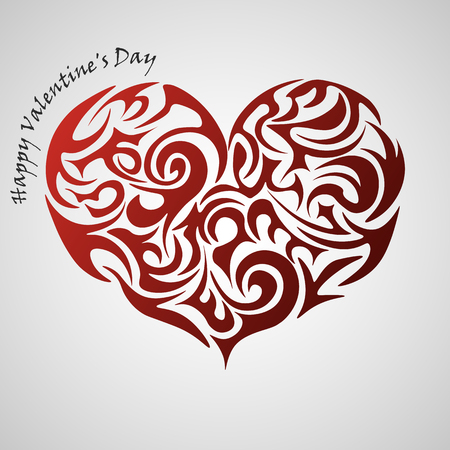 Heart red abstract tribal tattoo, decorative element. Valentines day