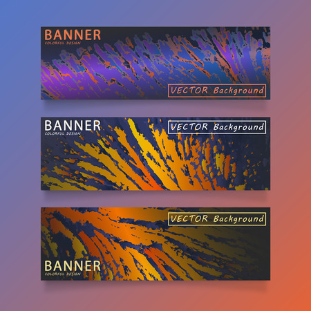 Set of modern horizontal vector banners with colorful background. Çizim