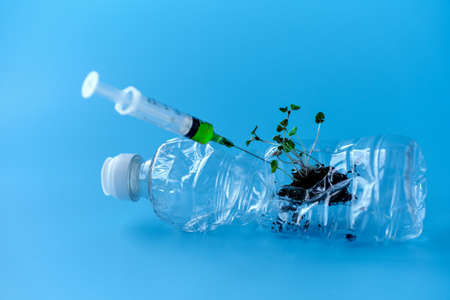 Used plastic bottle with plant sprouts. A syringe of medicine will be inserted into the bottle. Copy space.
