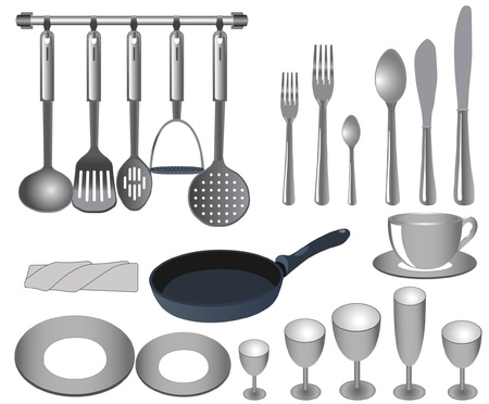 ladles: tableware Illustration