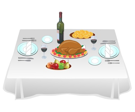 banquet table: Dinner party  Illustration