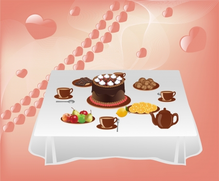 Table with sweets  Vector