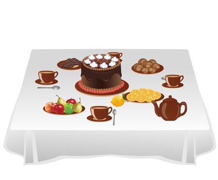 sweetness: Table with sweets Illustration