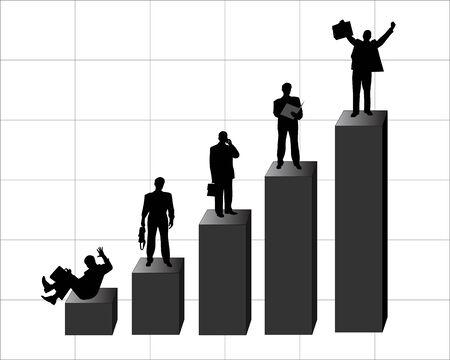 Silhouetten van zakenlieden, ambtenaren, bedienden en managers Stock Illustratie