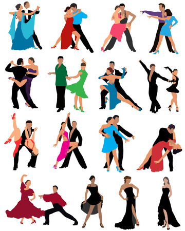 latin americans: Dancing couples, different styles of dance, color vector illustration