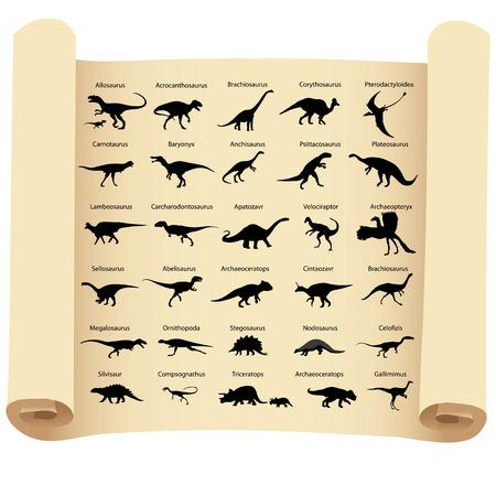 パピルスの上の名前を持つ恐竜のシルエットのコレクション  イラスト・ベクター素材