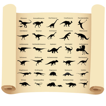 Collection of silhouettes of dinosaurs with names on papyrus Stock Illustratie