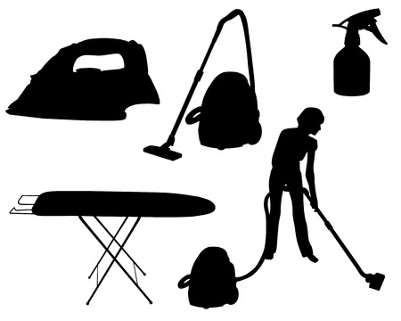 vacuum cleaning: Household appliances silhouette