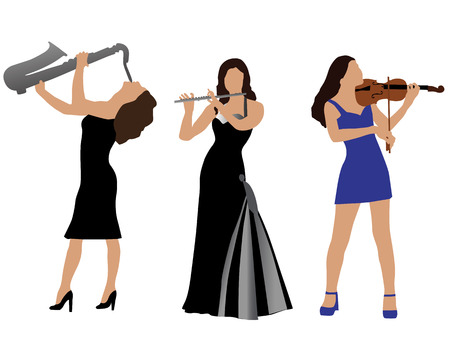 concert background: Silhouettes of the musicians playing musical instruments