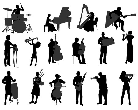 violinista: Siluetas de los músicos que tocan instrumentos musicales Vectores