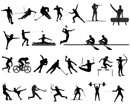 Silhouettes of athletes on trainings and competitions, a collection of sports