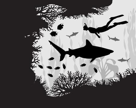 Duiker in koraalrif tussen de vissen en algen Stock Illustratie