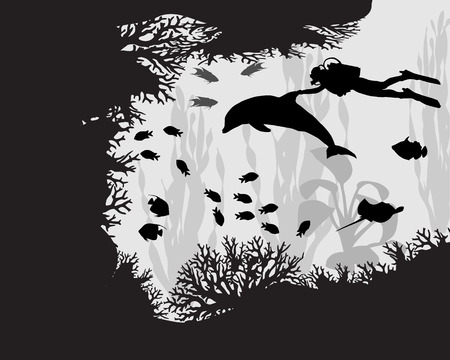 Diver in coral reef among the fish and algae