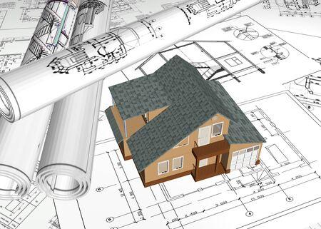 Thuis driedimensionale afbeelding in en het tekenen van het huis