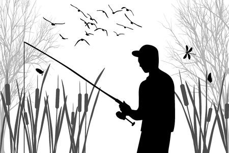 Silhouet van visser tussen het riet van de visserij