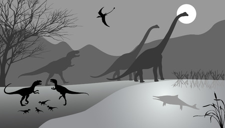 Dinosaurs against the landscape. Black-and-white vector illustration. Illustration