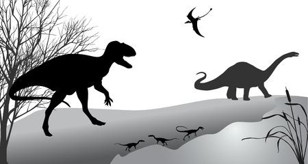 Dinosaurussen tegen het landschap. Zwart-wit vector illustratie.