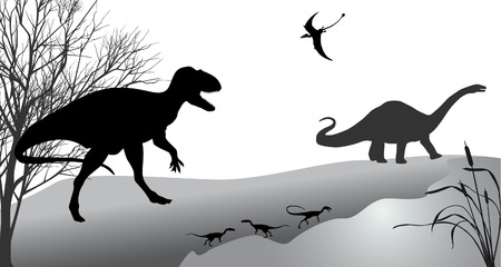 Dinosaurs against the landscape. Black-and-white vector illustration. Illustration