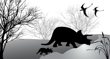 Triceratops with kid against the landscape. Vector illustration. Illustration