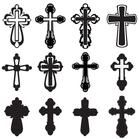 iron cross: Collection of silhouettes of different kinds of creeds Illustration