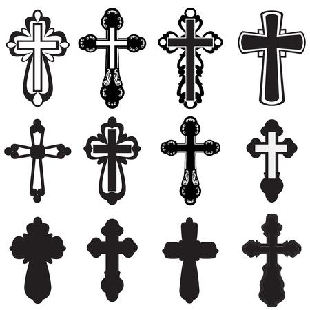Verzameling van silhouetten van verschillende soorten geloofsbelijdenissen