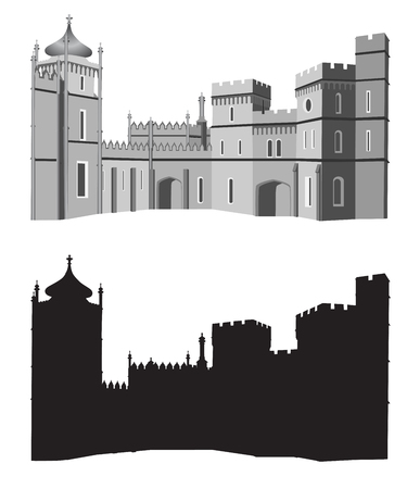 palace: Ancient palace in black and white colors