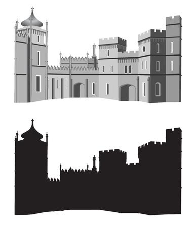 Oude paleis in zwarte en witte kleuren Stock Illustratie