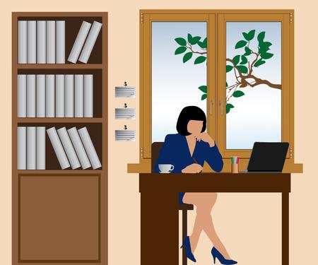 Vrouw die bij het kantoor aan de tafel Stock Illustratie