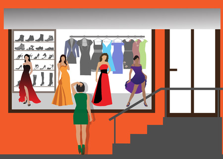footwear: Fashion shop of clothes and footwear. Color illustration. Illustration