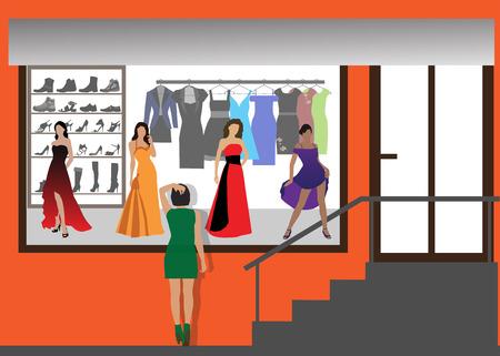Modewinkel van kleding en schoeisel. Illustratie van de kleur.
