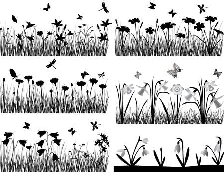 Collectie van silhouetten van bloemen en grassen