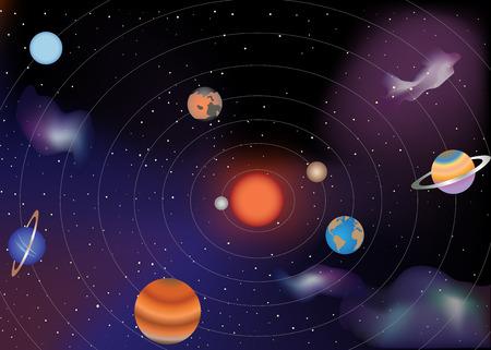 De planeten van het zonnestelsel en de zon Stock Illustratie
