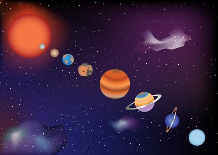 Parade van planeten van het zonnestelsel Stock Illustratie