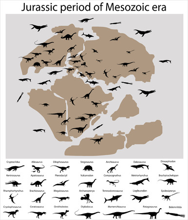 Dinosaurs of jurassic period of mesozoic era on the map Illustration