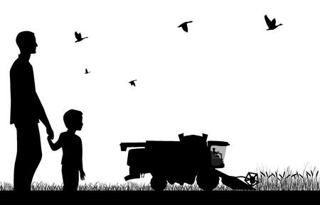 Man met een jongen te kijken naar het werk van maaidorser-oogstmachine Stock Illustratie
