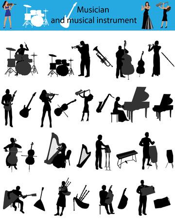 Silhouetten van de muzikanten die muziekinstrumenten spelen Stock Illustratie