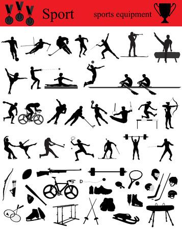 Silhouetten van atleten op trainingen en wedstrijden, een verzameling sporten