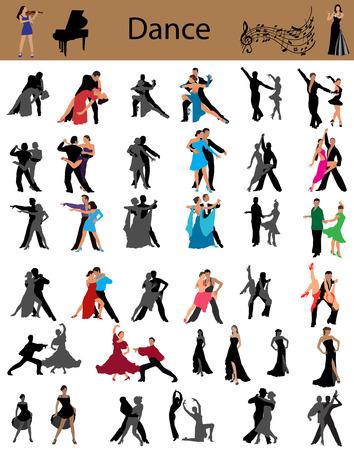 Collectie van de dansende koppels, verschillende stijlen van dans
