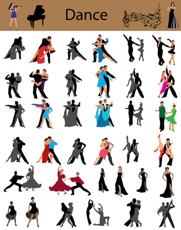 Collection of the dancing couples, different styles of dance Illustration