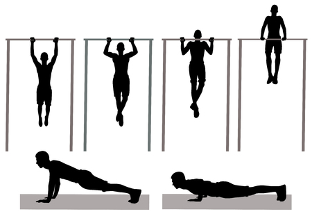 Silhouette of man making physical exercise on horizontal bar