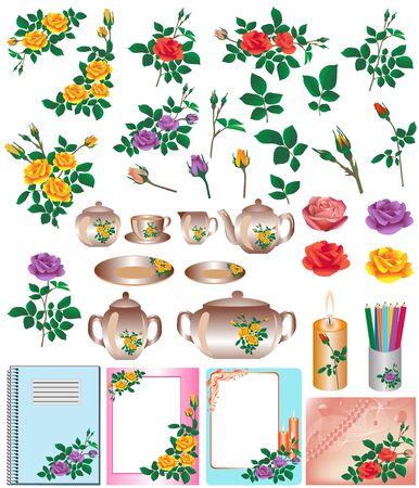 Verzameling van kleurenafbeeldingen van rozen. Vector illustratie.